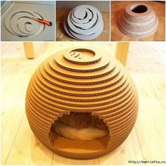 A cat house does not need to be a boring cube or tent. With cardboard and a few simple tools, you can have a funky geometric design for a DIY cat house!