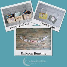 Personalised felt unicorn and rainbows themed bunting paired with a personalised door sign and some cute fabric storage baskets too! Playroom Decor, Nursery Decor, Bedroom Decor, Personalised Bunting, Personalized Signs, Fabric Storage Baskets, Cube Storage, Door Signs, New Baby Gifts