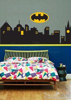 Superhero Wall Decal Gotham City Wall Decal Batman Sticker - Superhero wall decals for kids rooms