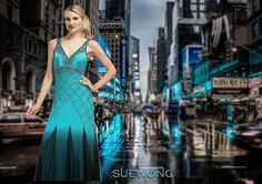 SUE WONG v-neck gown with beaded bodice and pleated godet skirt.  #teamsuewong #fashion #inspiration #couture #hautecouture #highfashion #glamorous #suewong #colorful