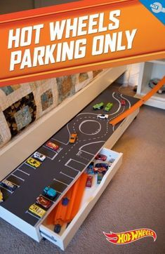 Use a chalkboard and chalk paint to draw roads and parking lots