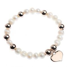 Bridal jewellery, RueBCream Pearl and Rose Gold Bead and Heart Bracelet