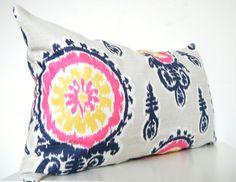 Pink Ikat Pillow, Bohemian Decor, Long Pillow, 12x22 Inch, $49