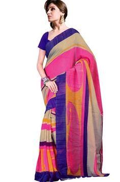 Grey & Blue Colored Linen Silk Printed Saree