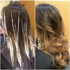 Balayage hair. Balayage hair application. Balayage hair color with Olaplex.
