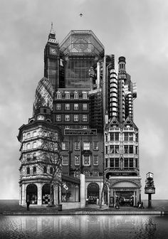 """Korean artist Beomsik Won digitally manipulates photos of buildings to deconstruct and reconstruct these structures, creating baffling combinations in this series of collages entitled """"Archisculpture"""".  """"My interest in architecture stems from its gigantic size and pragmatic functions. Whenever I see buildings of grand scale or interesting design I usually take photos, so I"""