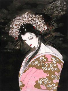 """「桜姫」""""Princess of Cherry blossom"""" by Yoshitaka Amano http://en.wikipedia.org/wiki/Yoshitaka_Amano"""