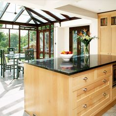 Looking for beautiful kitchen extension ideas? Our showcase of light and bright kitchen ideas will inspire and help you create your perfect scheme Conservatory Kitchen, Conservatory Design, Sunroom Kitchen, New Kitchen, Kitchen Pantry, Kitchen Ideas, Bright Kitchens, Cool Kitchens, Kitchen Extension Glass Roof