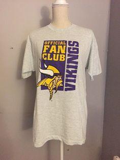 ca115a27b Minnesota Vikings Official Fan Club T Shirt Unisex Size Large Gray   FruitoftheLoom  GraphicTee