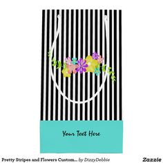 Pretty Stripes and Flowers Custom Gift Bag