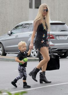 Fergie takes her son Axl to Star Eco Station on October 3, 2015