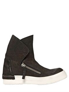 20MM ZIPPED LEATHER HIGH TOP SNEAKERS