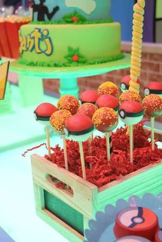 Cool cake pops at a Pokemon birthday party! See more party ideas at CatchMyParty.com!