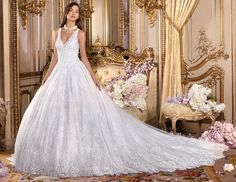 New collection Platinum Royal Romance Style 360 ALESSIA Luxury V-neck sleeveless Ball gown with blush lace. Col. shown: ivory/nude Available in: white, ivory, white/nude, ivory/nude