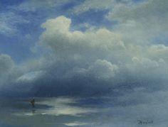 Mer et ciel (Sea and Sky.) - Albert Biestardt, n/d. German, 1830-1902 oil on paper mounted on board , 14.125 x 18.25 in