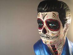 Day of the Dead Elvis Bust, Dia de Los Muertos Elvis, Low Brow art, Elvis sculpture, Tattoo Flash Elvis, Elvis Skull