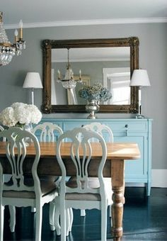 turquoise buffet and great chairs!