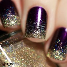 Purple and Gold Glitter Nails-Party Nails