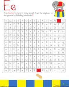 Kindergarten Mazes The Alphabet Worksheets: Letter Maze: E
