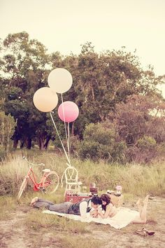 A Vintage Picnic Engagement Session. Photo by Pictures and Heart Photography.