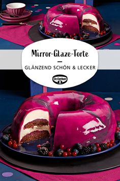 Mirror Glaze Pie- Mirror-Glaze-Torte Mirror-Glaze-Torte: White chocolate mousse cake with berry filling and shiny coating in a wreath shape - Beef Pies, Mince Pies, White Chocolate Mousse Cake, Chocolate Filling, Nutella, Cupcakes Amor, Mousse Au Chocolat Torte, Green Curry Chicken, Red Wine Gravy