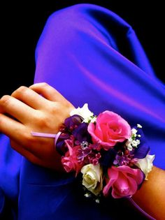 Lively purple and hot pink colors Wrist Corsage Wedding, Prom Corsage And Boutonniere, Boutonnieres, Senior Prom, Homecoming, Unicorn Wedding, Daddy Daughter Dance, Prom 2014, Prom Flowers