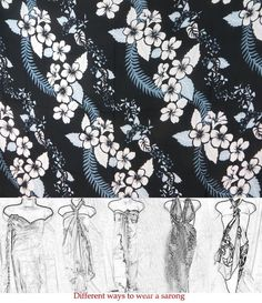 Gift For Her Swimsuits Cover Blue Grey Black White Flower Lei Sarong