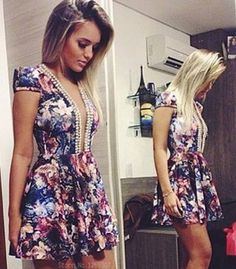 Floral & Pearl Necklace Plunge Dress