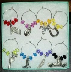 8pc Set Valentines Day Wine Glass Charms NEW Mixed Country Western Horse Love