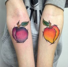 Peach and Plum Sketch Style Tattoos by Blake Francis