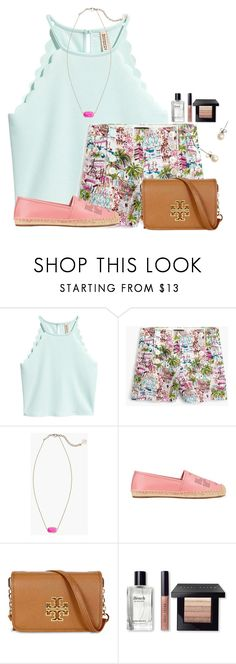 """I am in LOVE with these shorts❤"" by flroasburn ❤ liked on Polyvore featuring J.Crew, Kendra Scott, Tory Burch and Bobbi Brown Cosmetics"