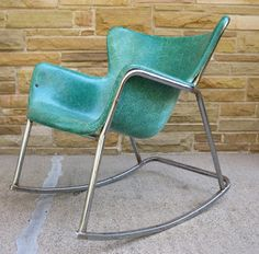 Wonderful Lawrence Peabody Fiberglass Wingback Rocking Chair By Selig