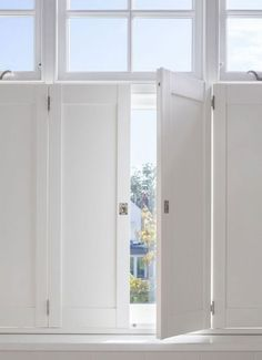 Wooden Shutters Indoor, Diy Interior Window Shutters, Diy Shutters, Interior Windows, White Shutters, Wooden Windows, Cottage Shutters, Kitchen Shutters, Kitchen