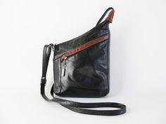 Vintage Leather Crossbody Bag  Black Leather by funkyvintage780