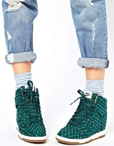 Image 3 of Nike Dunk Sky High Top Green Wedge Sneakers GREEN! Not sold in the US!