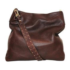 Stud Strap Hobo Dark Brown ($335) ❤ liked on Polyvore featuring bags, handbags, shoulder bags, shoulder strap purses, crossbody purse, brown shoulder bag, zip shoulder bag and shoulder strap bags
