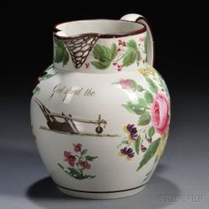 Floral-decorated Bristol Pottery Pearlware Pitcher