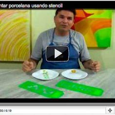 Vídeo aula de como pintar porcelana com moldes de stencil