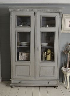 #letstrove With it's wonderful patina and handsome good looks, this Dutch Linen Cupboard, or Display Cabinet is the perfect cabinet for storing all your wares! We've painted in Little Greene Mid Lead, with Mylands Leadenhall inside and on the detail, lightly distressed and aged with dark wax. https://www.thetreasuretrove.co.uk/kitchen-storage/large-shabby-chic-linen-cupboard #rusticfurniture #shabbychicfurniture #shabbychicdecor #vintagefinds #mylandspaint #littlegreenepaint