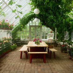Fun idea - dining in the greenhouse.