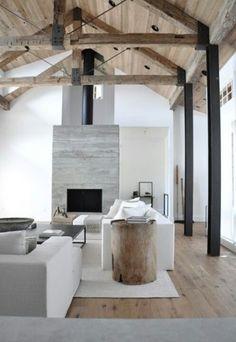 White+wood peinture béton ciré sur le mur du poele