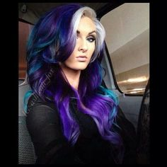 blonde hair with teal and purple | Blue purple hair white blonde bangs