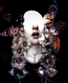 Marco Mazzoni - creates wonderful pieces of blank faces adorned with vibrant flowers and butterflies using colored pencils.
