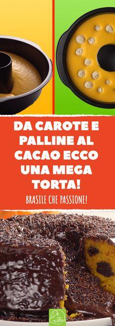 Direttamente dai sapori della cucina brasiliana, ecco una torta deliziosa con una base di carote impreziosita del gusto intenso al cioccolato. #torta #cioccolato #fondente #carote #brasile #praline #dessert #festa #compleanno #bambini #brigadeiros