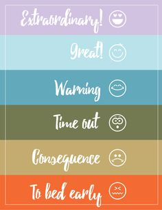 Behavior chart printable - extraordinary, great, warning, time out, consequence, to bed early - color coded with emotion faces - housemixblog.com