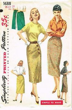 Vintage Slim Wrap Around Skirt Pattern Slim versatile whiz Wrap Skirt pattern is simple to make and can be worn with buttons in front or in back. Skirt is fitted with darts at the waistline. The skirt may be lined. Skirt Patterns Sewing, Simplicity Sewing Patterns, Vintage Sewing Patterns, Skirt Sewing, Fabric Patterns, Vintage Outfits, Vintage Dresses, Vestidos Pin Up, Retro Fashion
