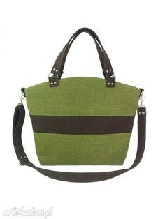 Shopper green brown ramię aneta pruchnik torebka wygodna pojemna