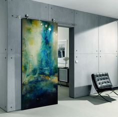 Dividing spaces with a beautiful door that is a piece of art!