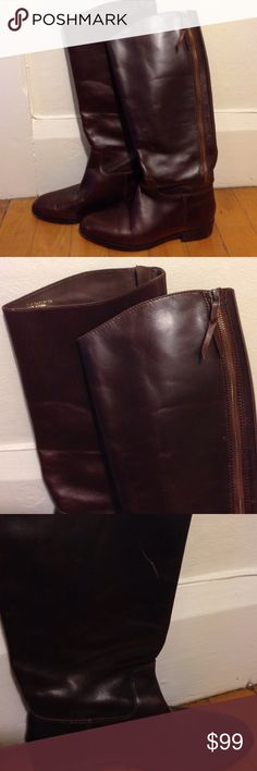 NWOT Cole Hana Mahogany Tall Riding Boots - 7B I have never worn these shoes...I wish they were my size! Given as a present. One scratch inside of left boot (seen in photo 3) I am a 8.5 so I can't try them on but appears the calf shaft is narrow. Glossy mahogany leather. Never been treated! Note these are a 7B, B meaning it is meant for a medium foot width! Cole Haan Shoes