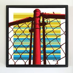 "Overflow series: ""Red Fence"" 24 x 24 inch, digital art & gloss and matte gel on stretched canvas. 26.5 x 26.5 inch, float frame - black flat. ---------------------------------------- #popart #popartist #digitalart #art #artist #contemporaryart #colorfield #abstractart #gloss #matte #art #canvas #jonsavagegallery"